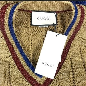 Gucci - Gold Metallic Blend Cable Knit V Sweater